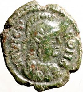 1795D Quarto di follis da 10 nummi 526-534 Iscrizione entro corona di alloro Roma Bronzo