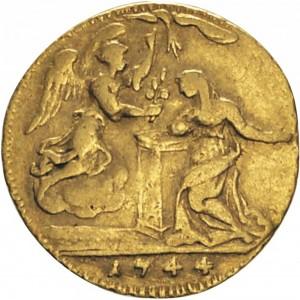 42R Mezzo Zecchino da 4,17 lire 1744 Annunciazione Torino Oro