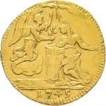 43-001R Mezzo zecchino da 4,17 lire 1745 Annunciazione Torino Oro