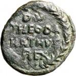 1799R Quarto di follis da 10 nummi 534-536 Iscrizione entro corona di alloro Roma Bronzo