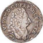 13D Reale da 5 soldi 1727 Croce di San Maurizio Torino Argento