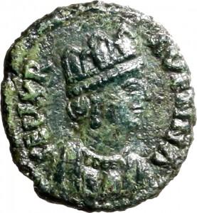 1791D Quarto di follis da 10 nummi 489-526 Monogramma Ravenna Bronzo