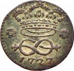 9R 2 denari da 1/6 di soldo 1727 Nodo d