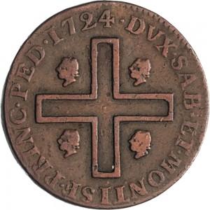 26R 3 cagliaresi da mezzo soldo 1724 Croce piana Torino Rame