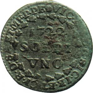 2D Soldo da 12 denari 1722 Croce piana 1° tipo Torino Mistura di argento