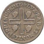 28R Cagliarese da 2 denari 1724 Croce piana Torino Rame