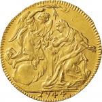 36R Zecchino da 9,15 lire 1744 Annunciazione 1° tipo Torino Oro