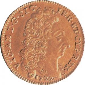 1D Doppia da 4 scudi 1722 Scudo sagomato Torino Oro