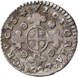 23R Mezzo reale da 2,6 soldi 1727 Croce di San Maurizio Torino Argento